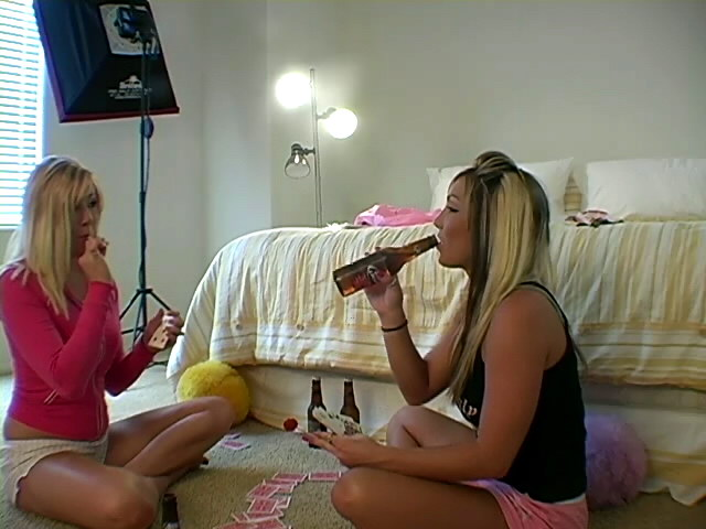 Off The Hook Ash-blonde Teenage Jessie Frolicking Card Together With Her Lezzie Mate